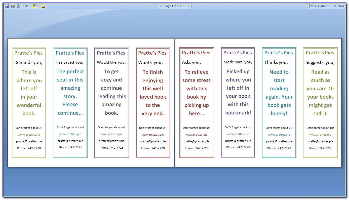 Two Sided Bookmark Template Publisher
