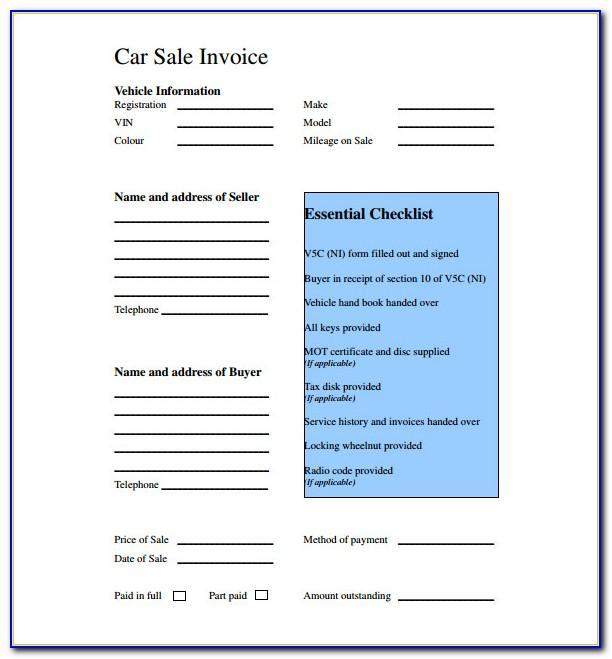 Vehicle Sales Invoice Template Uk
