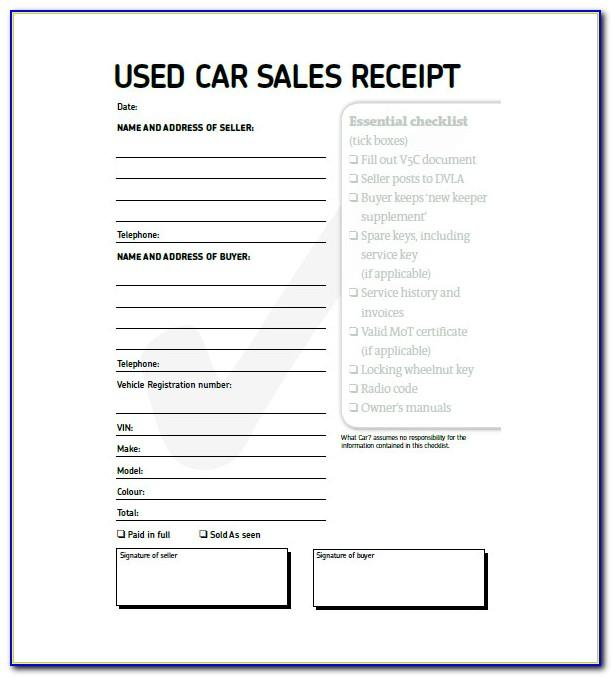 Vehicle Sales Receipt Template