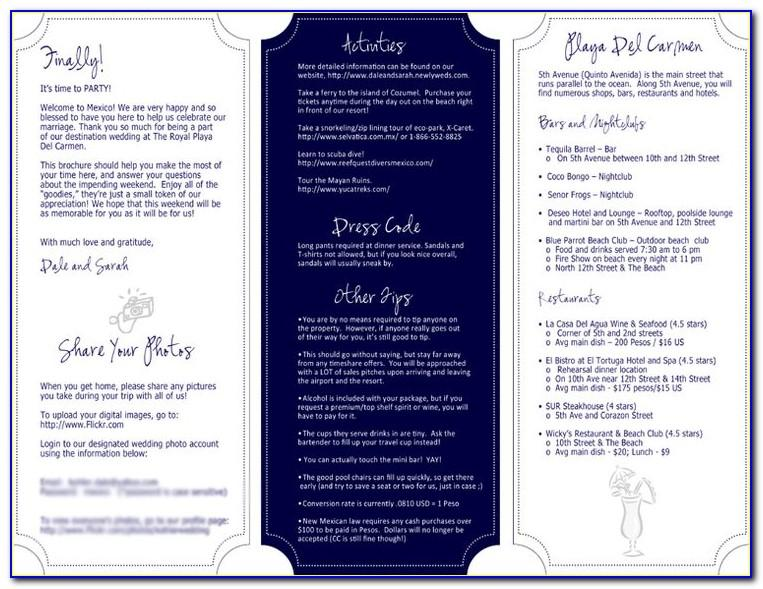 Wedding Itinerary Template For Out Of Town Guests