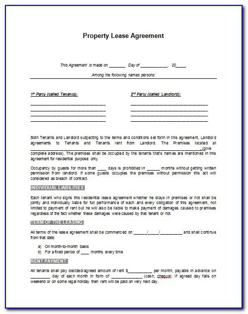 Word Format Lease Agreement