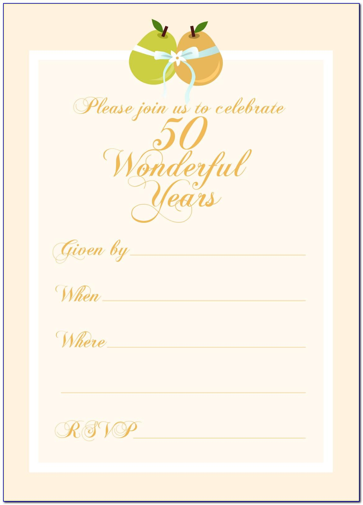 50th Wedding Anniversary Invitation Free Template