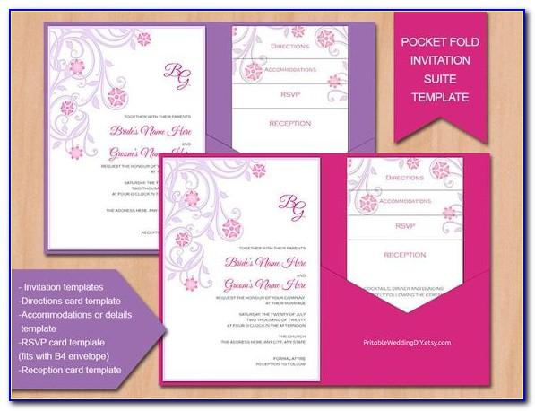 A6 Pocketfold Invitation Template
