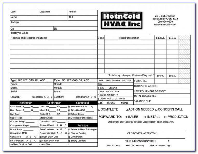 Ac Repair Invoice Template