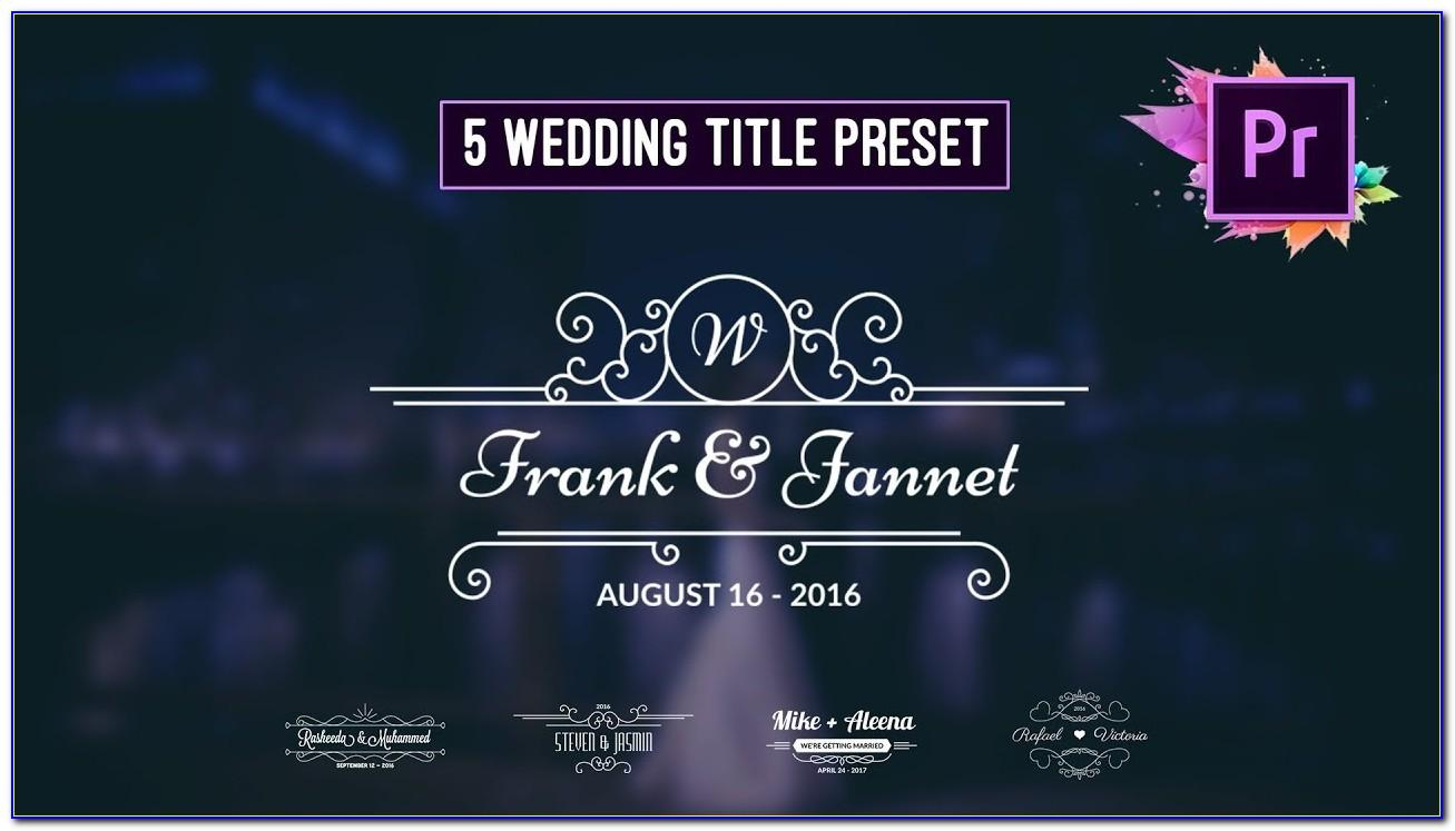 Adobe Premiere Wedding Templates Free Download