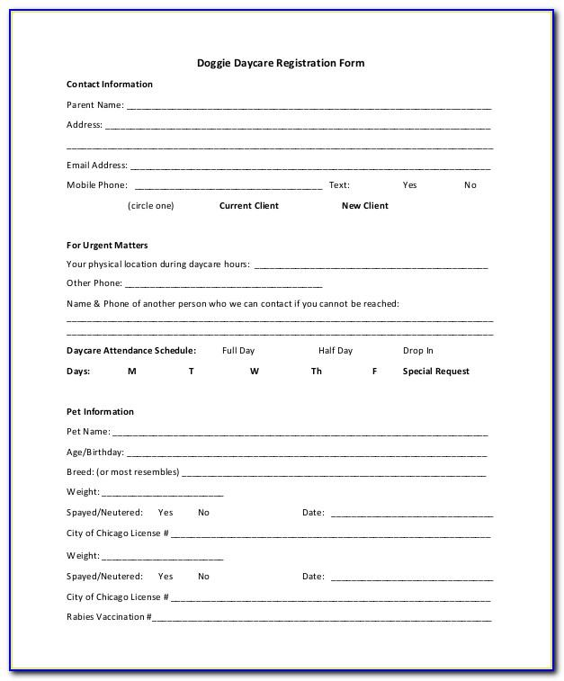 Animal Registration Form Template