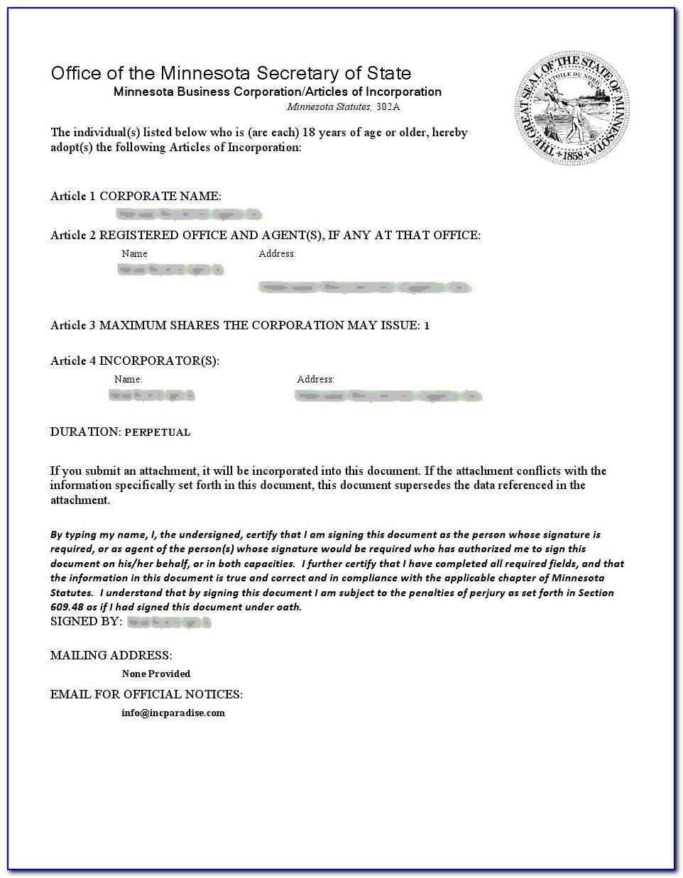 Articles Of Incorporation Mn Template