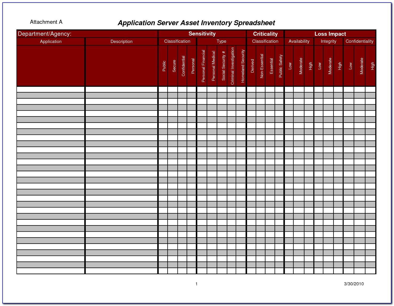 Asset Management Excel Sheet Template