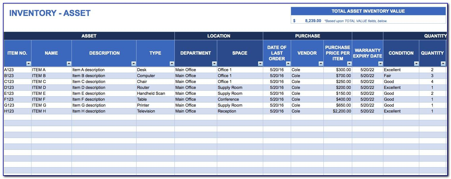 Asset Management Template Excel