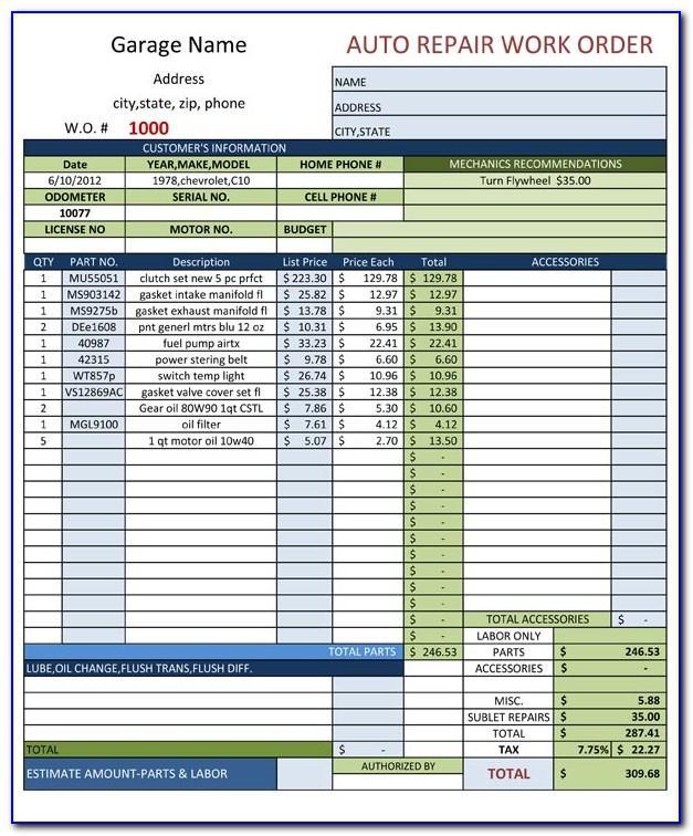 Auto Repair Work Order Template Download