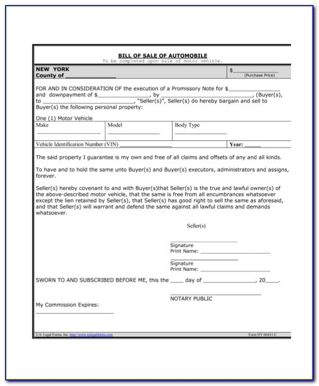 Automobile Promissory Note Form