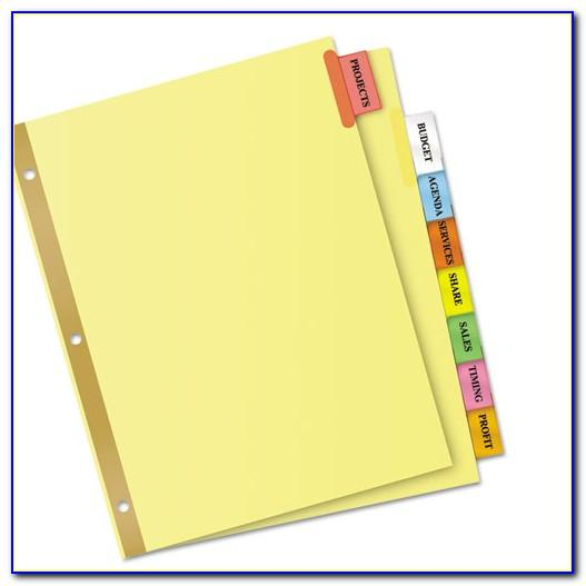Avery Big Tab Inserts For Dividers 8 Tab Template