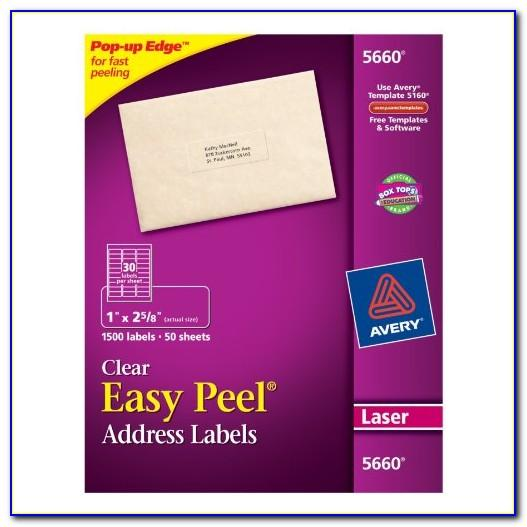 Avery Easy Peel Address Labels Template 5160