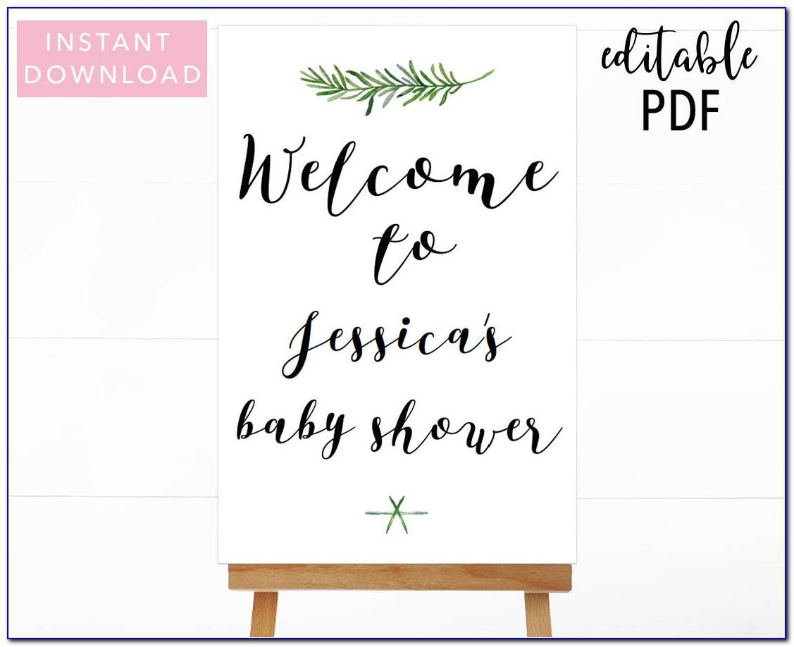 Baby Shower Welcome Sign Template Free