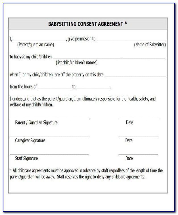 Babysitting Agreement Form
