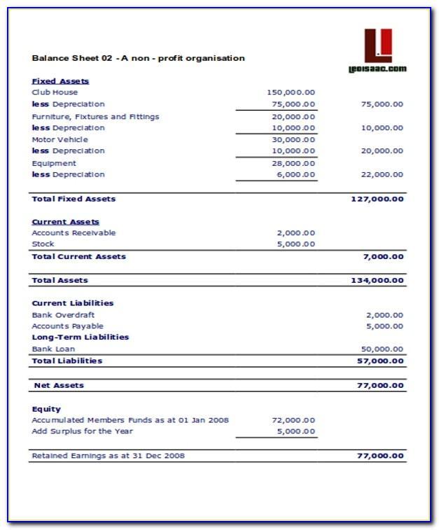 Balance Sheet For Non Profit Organisation Template