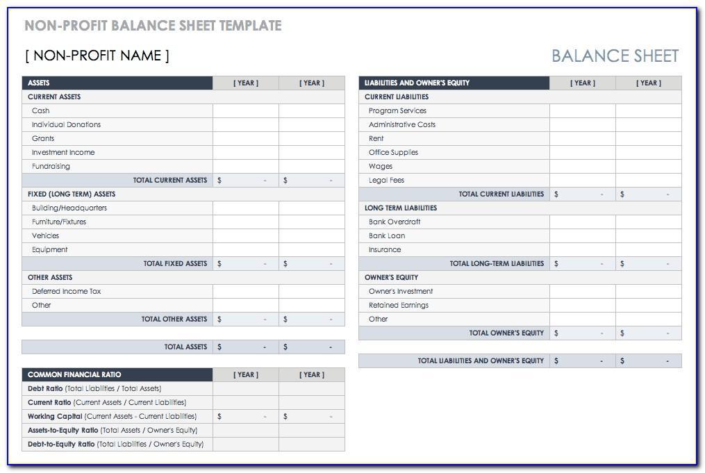 Balance Sheet Template For Non Profit Organization