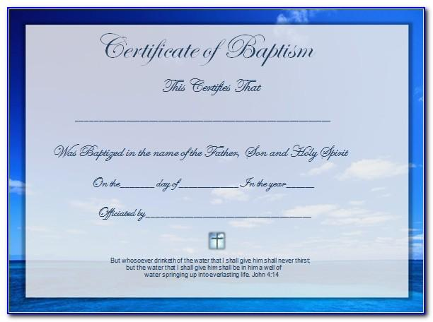 Baptism Certificate Printable Free
