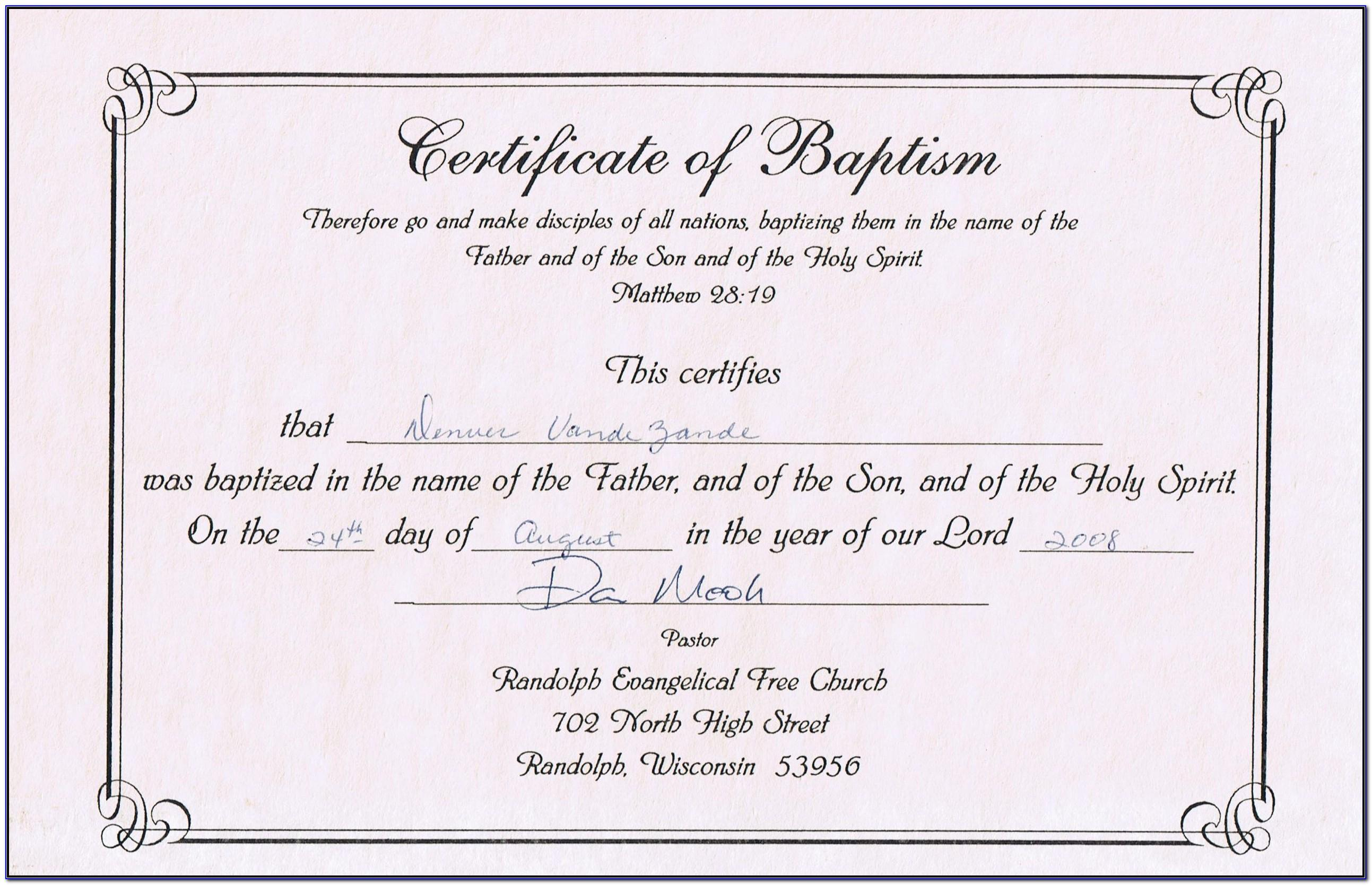 Baptism Certificate Samples