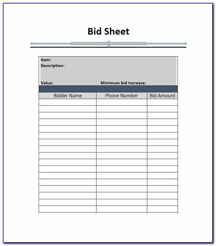Bid Format Template Free