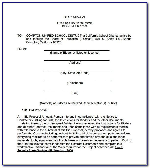 Bid Proposals Examples