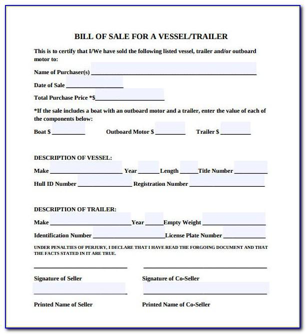 Bill Of Sale Template Boat Bc
