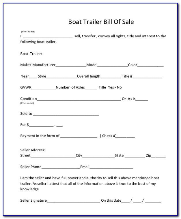 Bill Of Sale Template For Boat Motor And Trailer