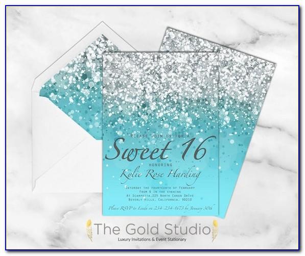 Blue Sweet Sixteen Invitation Templates