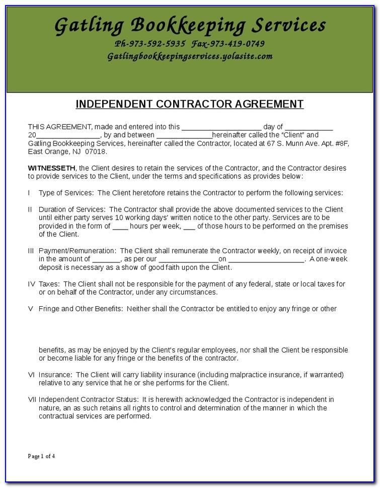 Bookkeeping Service Agreement Template Australia