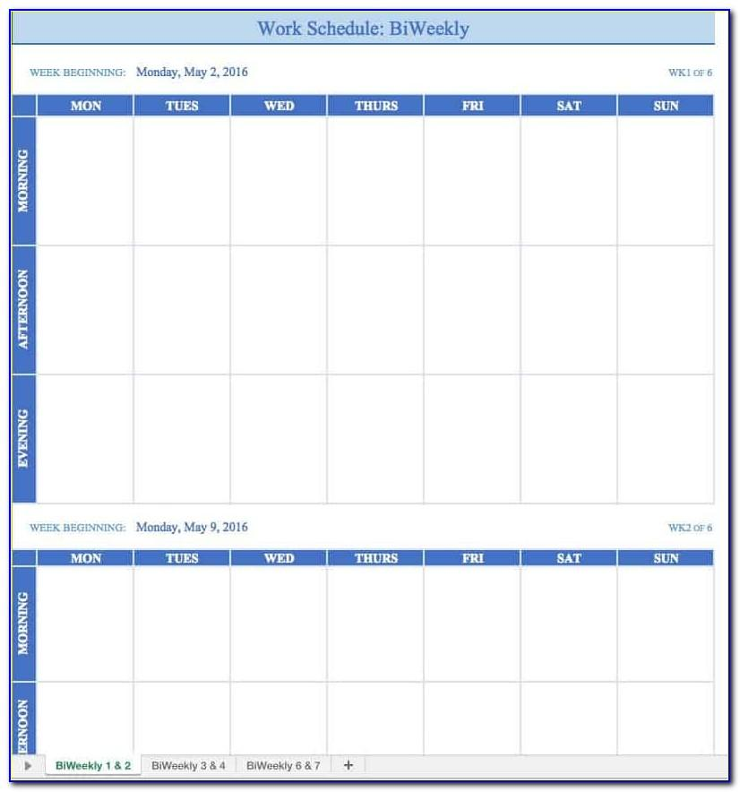 Calendar Work Plan Template