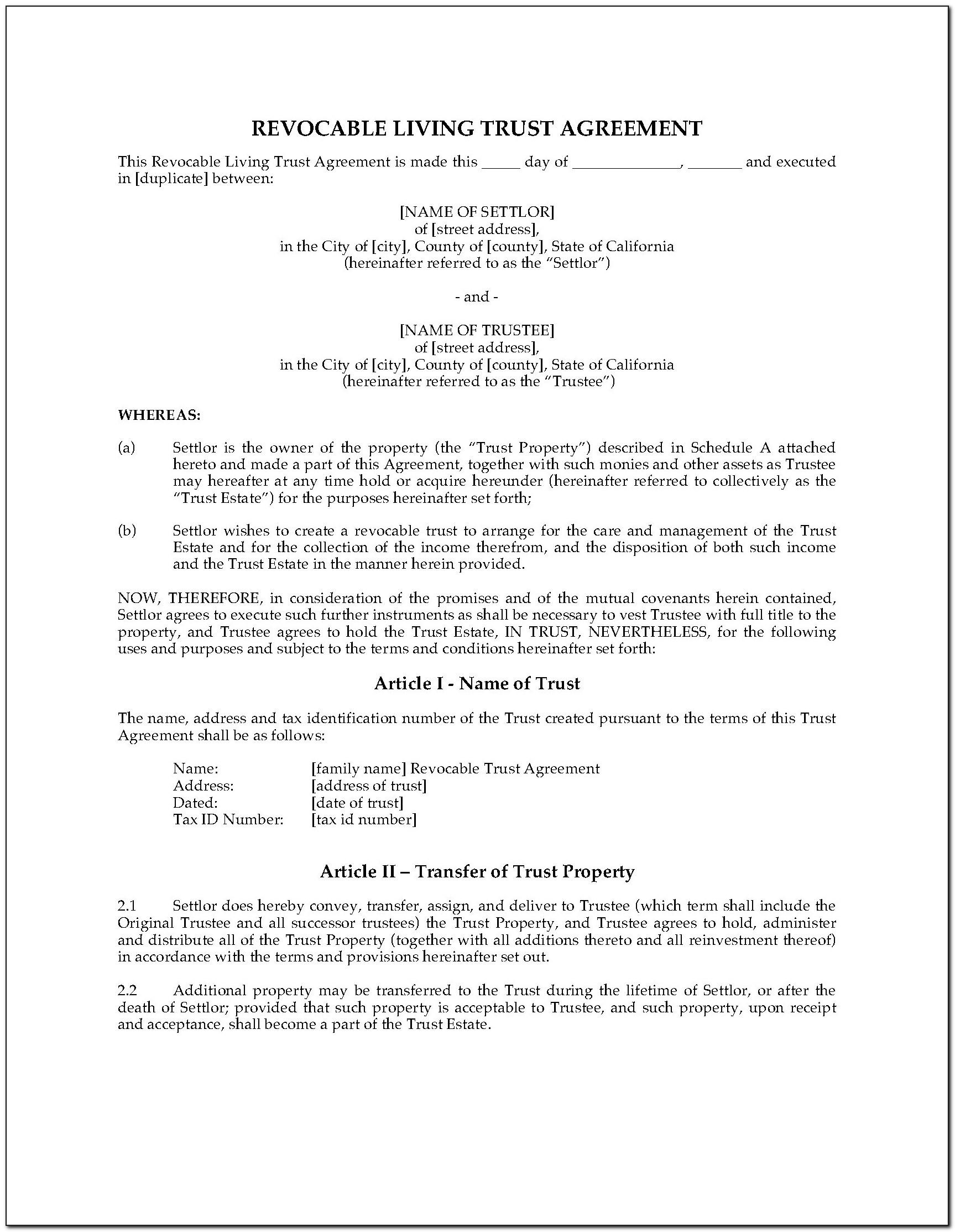 California Revocable Living Trust Forms