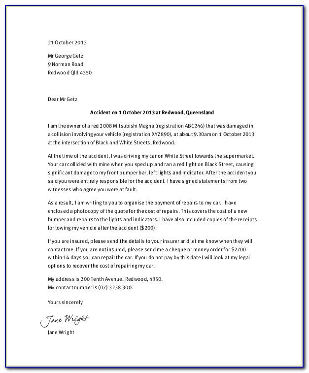 Car Accident Demand Letter Template