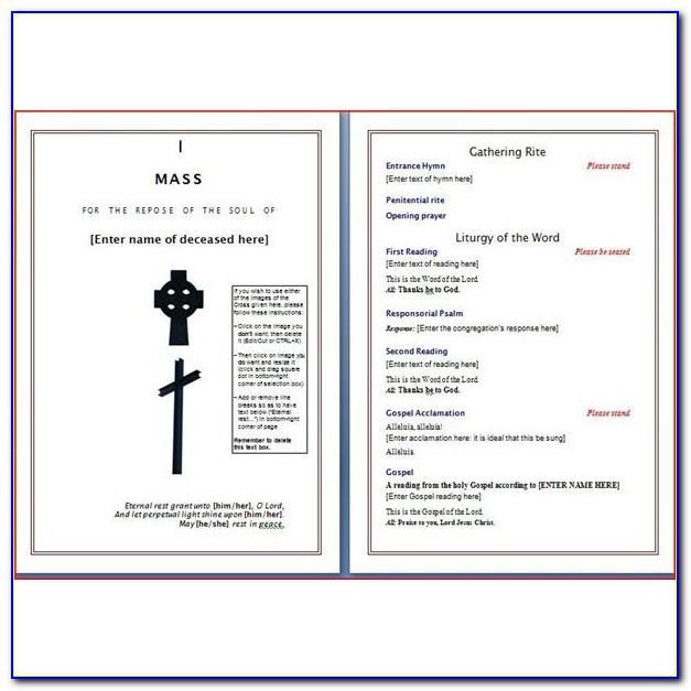 Catholic Church Funeral Program Template