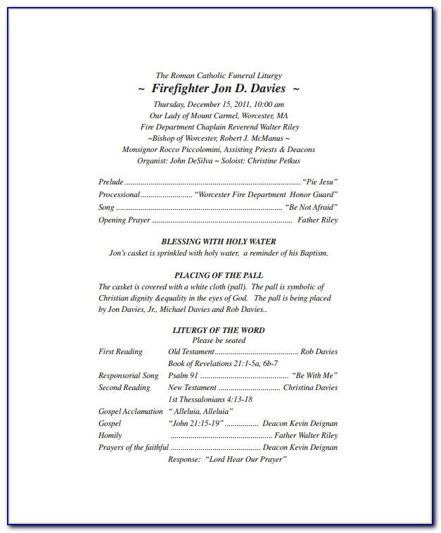 Catholic Funeral Program Samples