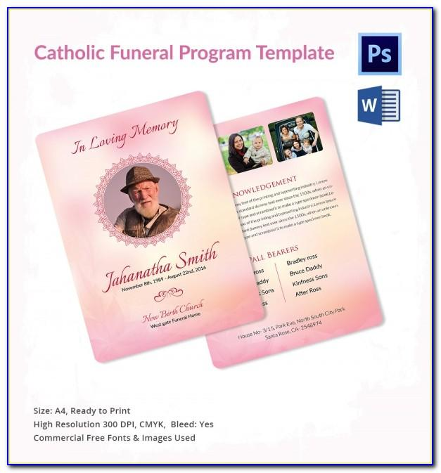 Catholic Funeral Service Program Template
