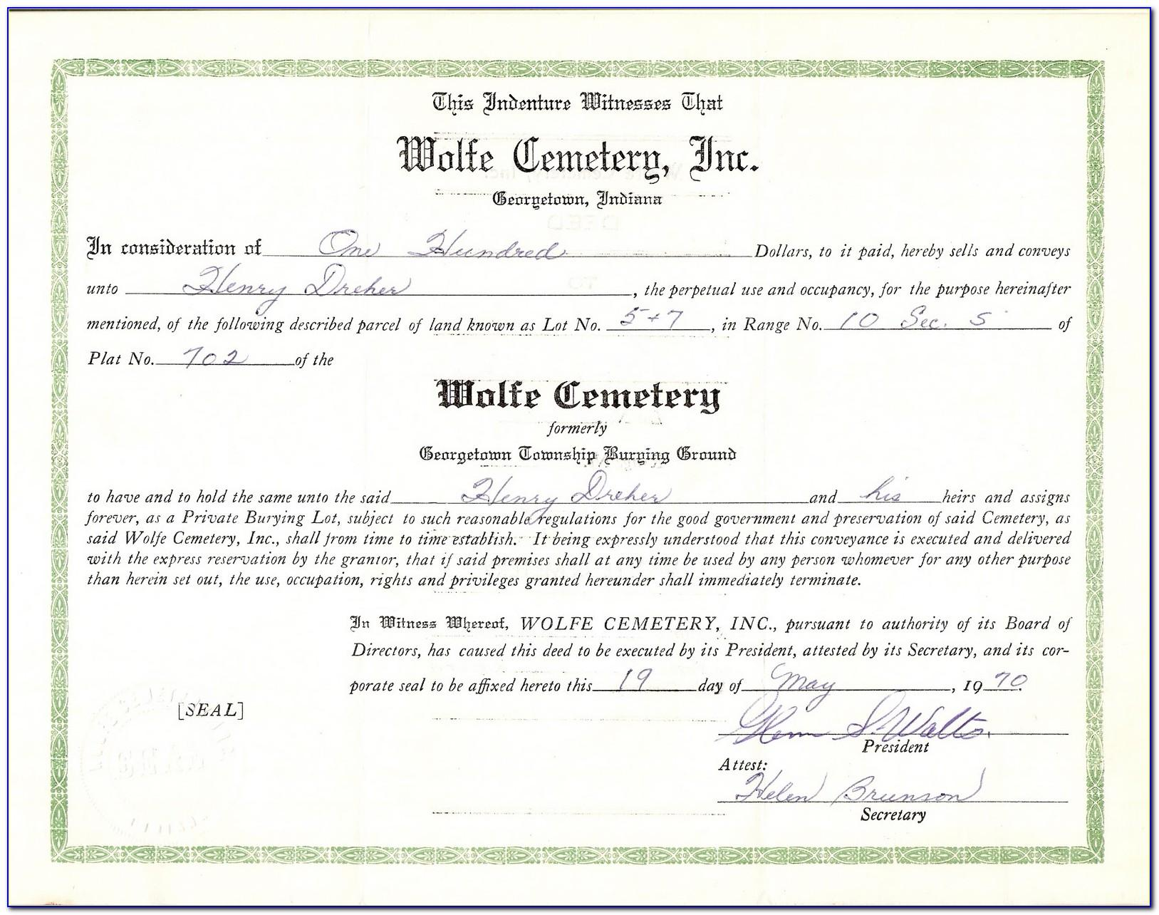 Cemetery Deed Template