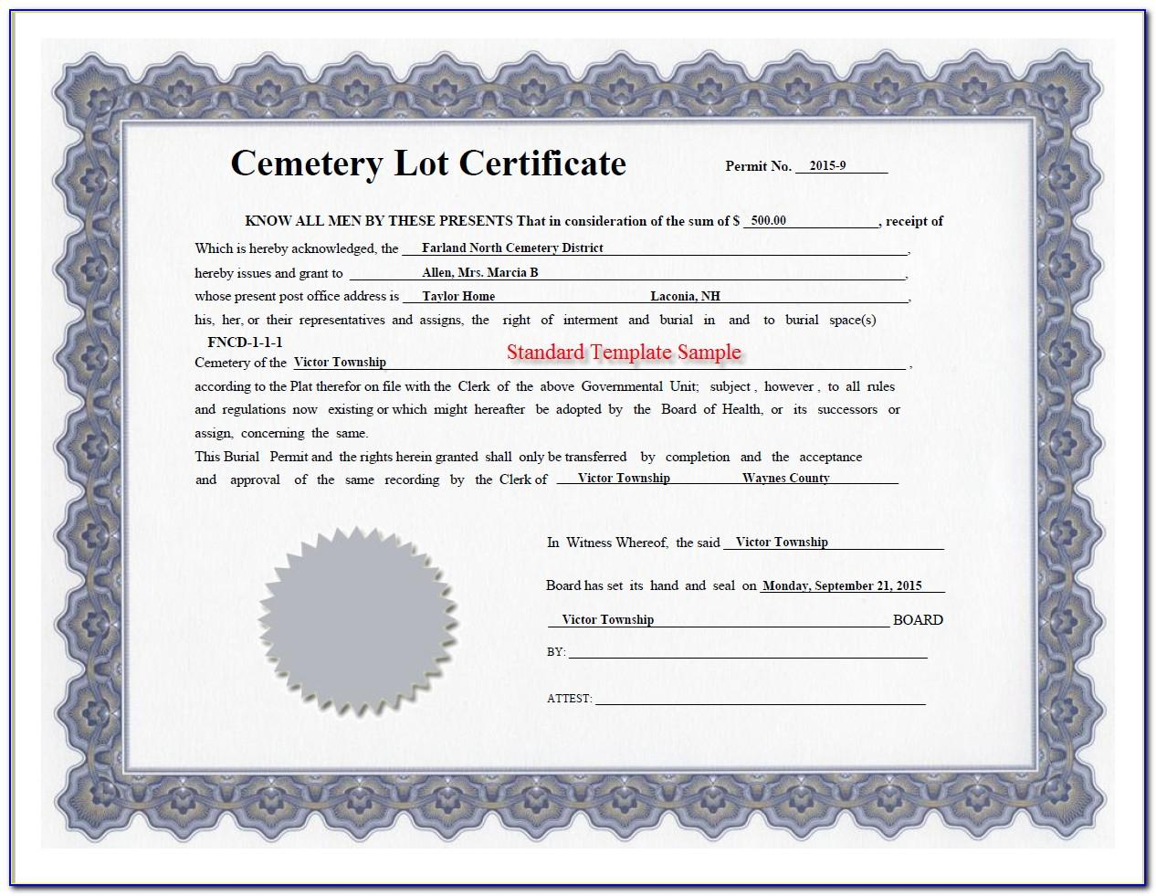 Cemetery Plot Deed Template