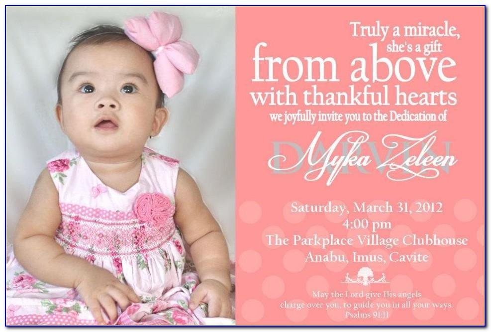 Child Dedication Invitation Card Template