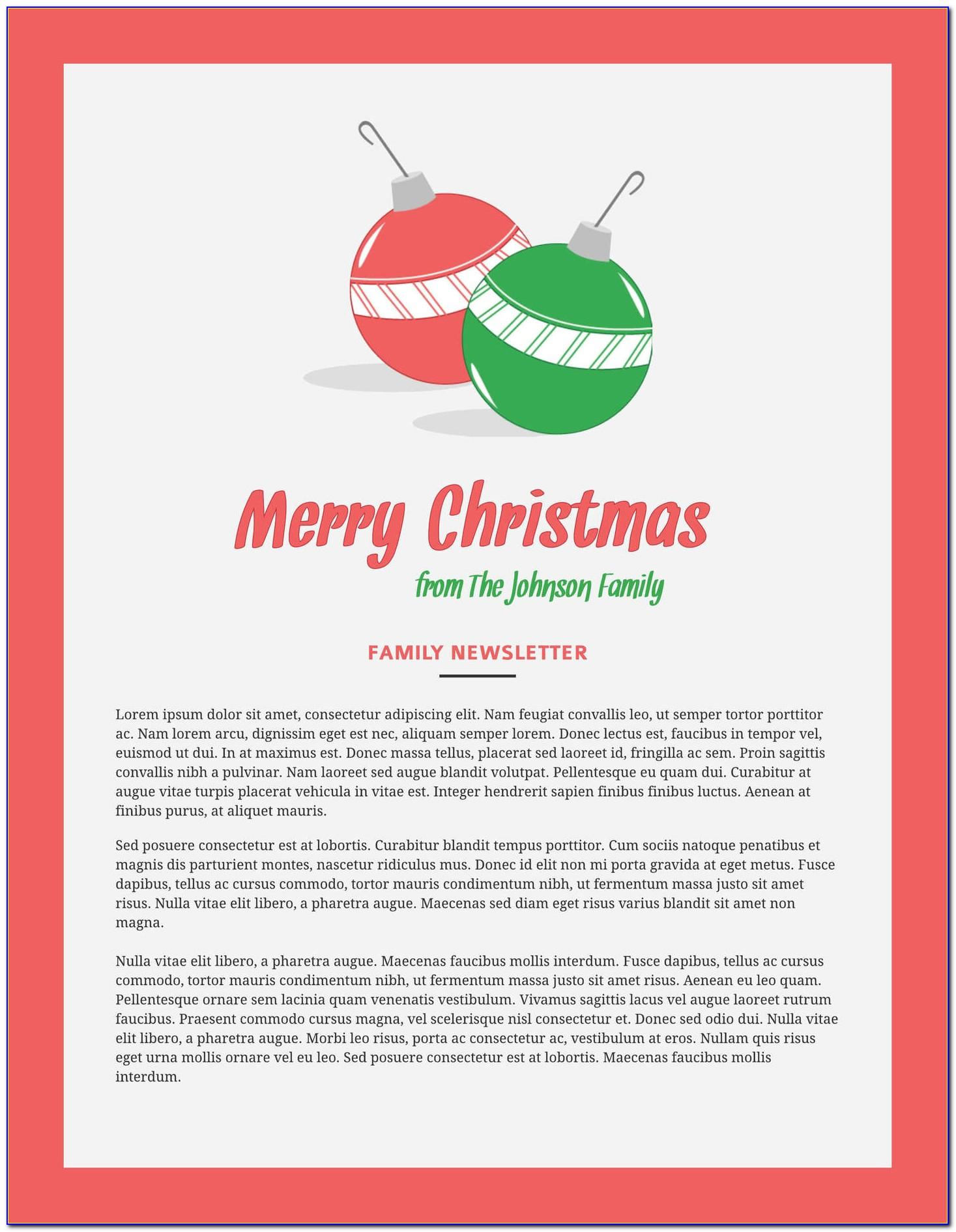 Christmas Newsletter Template For Pages