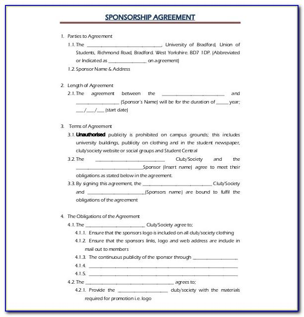 Clothing Sponsorship Contract Template