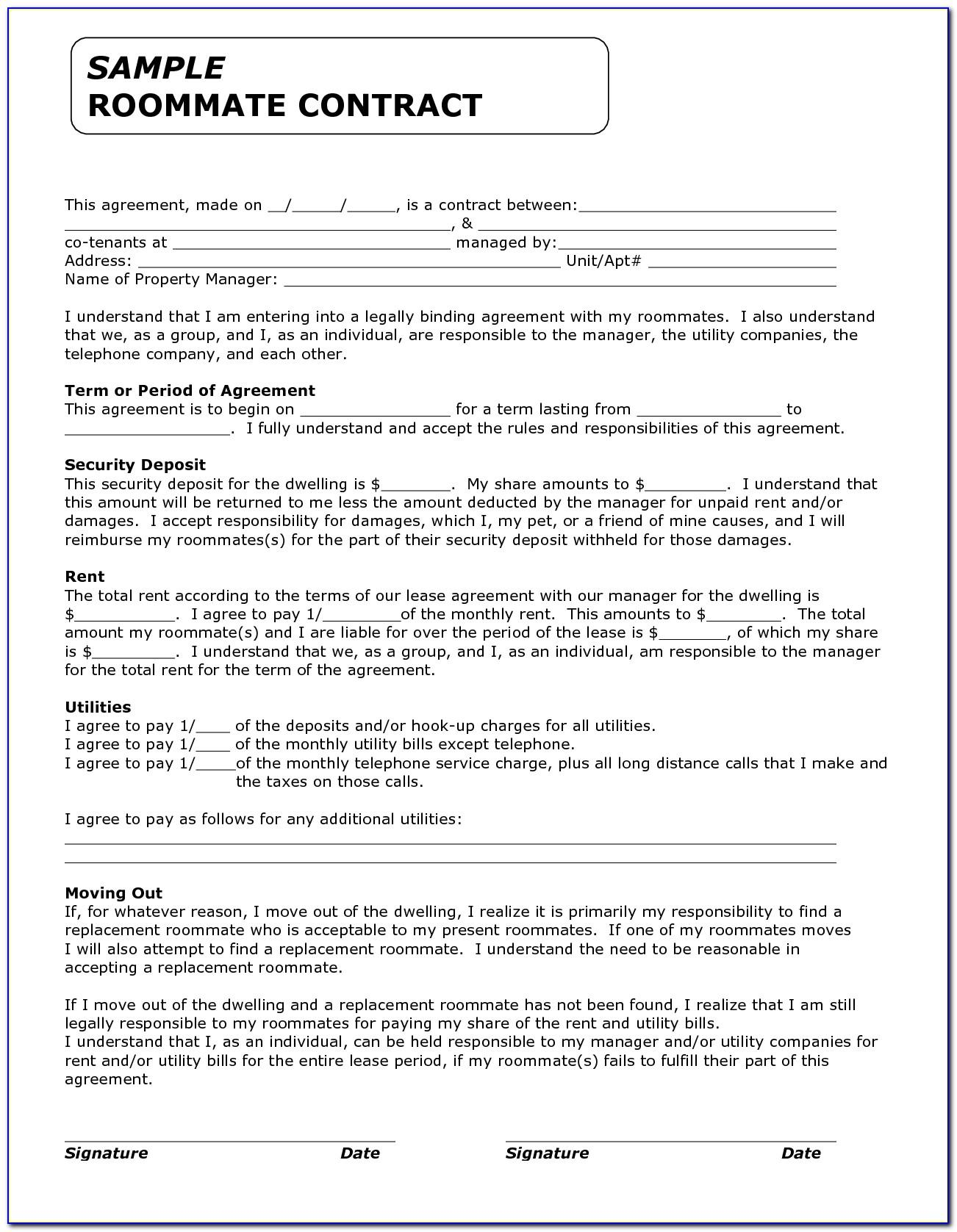 College Roommate Contract Template