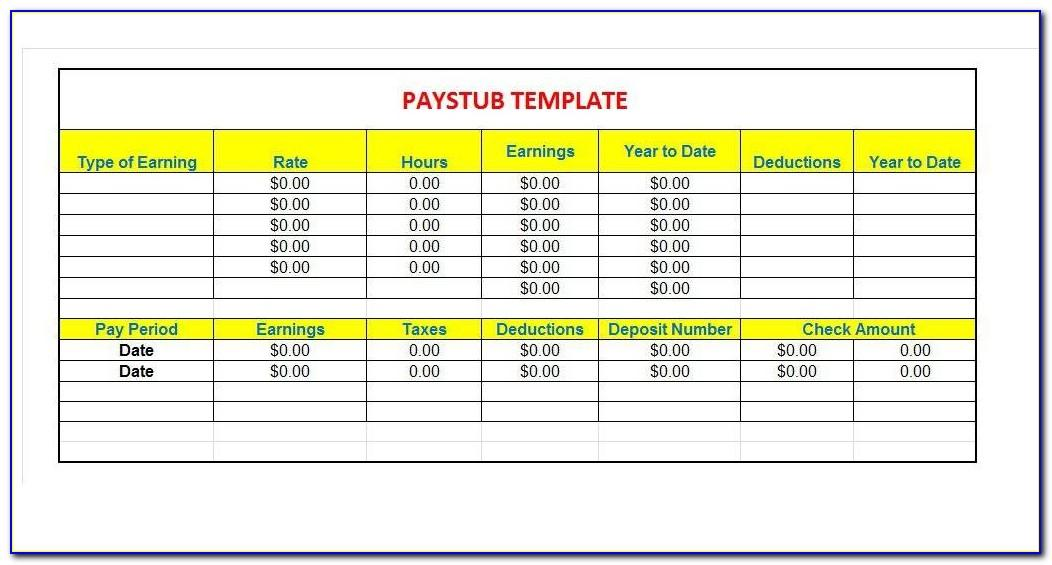 Commission Pay Stub Template