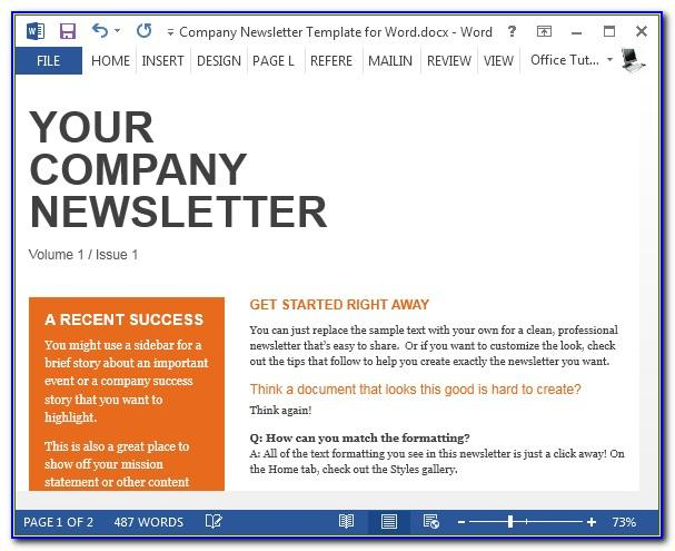 Company Newsletter Templates Free Word