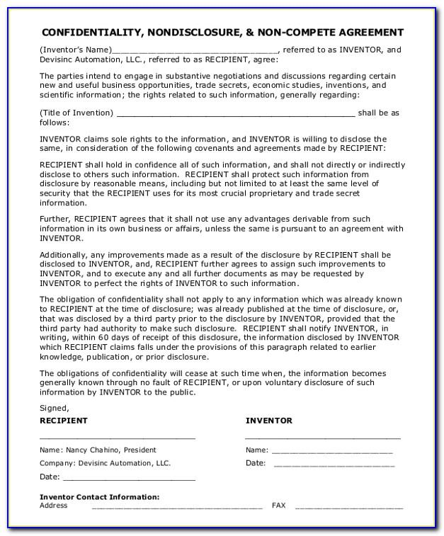 Confidentiality And Non Compete Agreement Sample