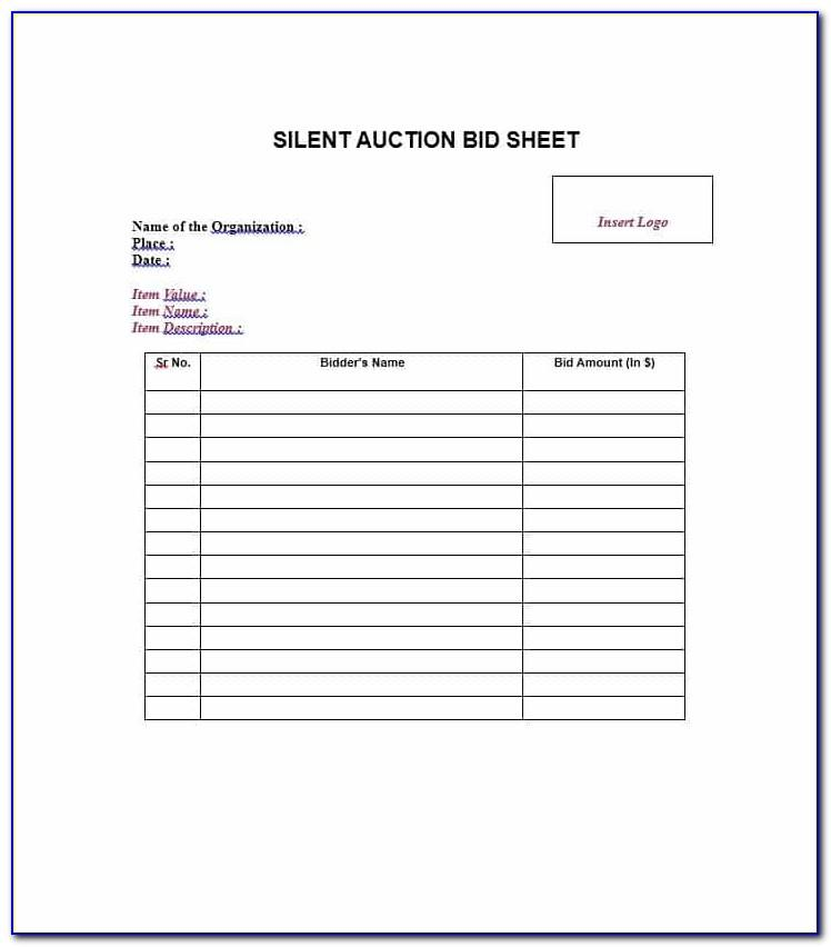 Construction Bid Sheet Template Free