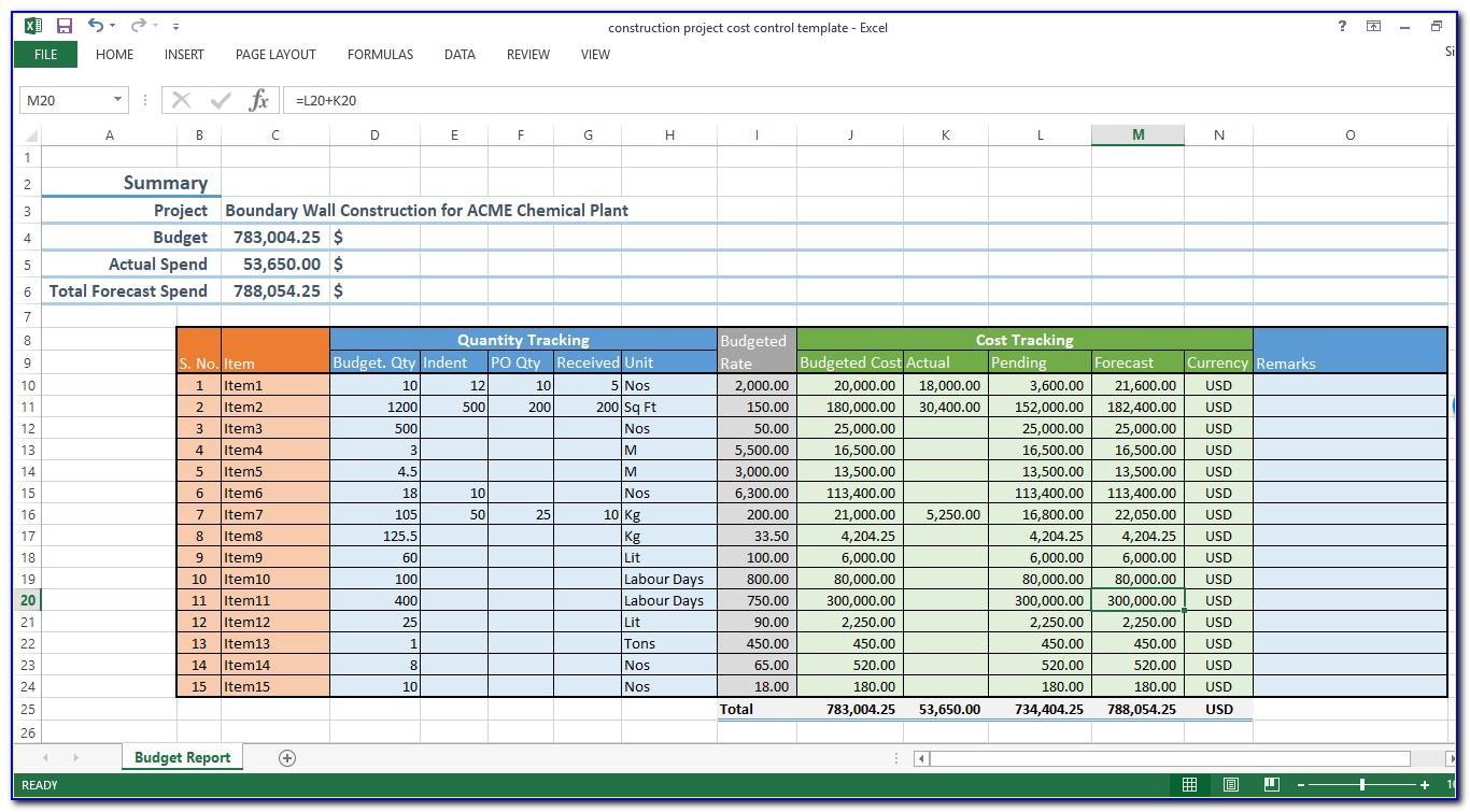 Construction Estimating Excel Template