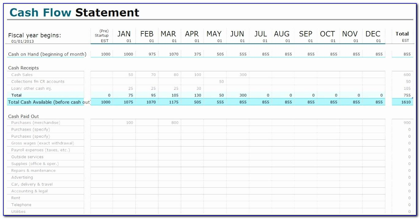 Construction Project Cash Flow Template Excel Free Download