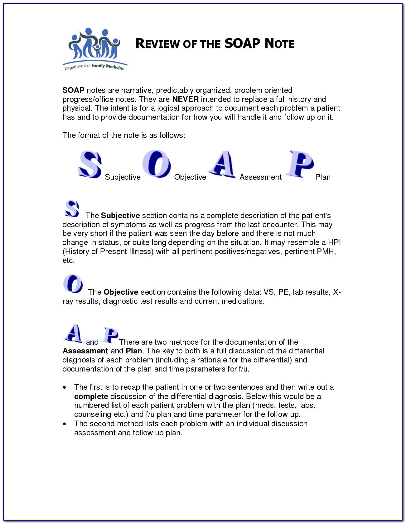 Counseling Soap Note Template Pdf