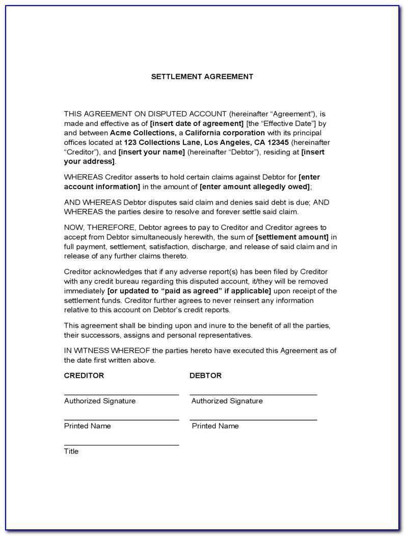Debt Settlement Letter Example