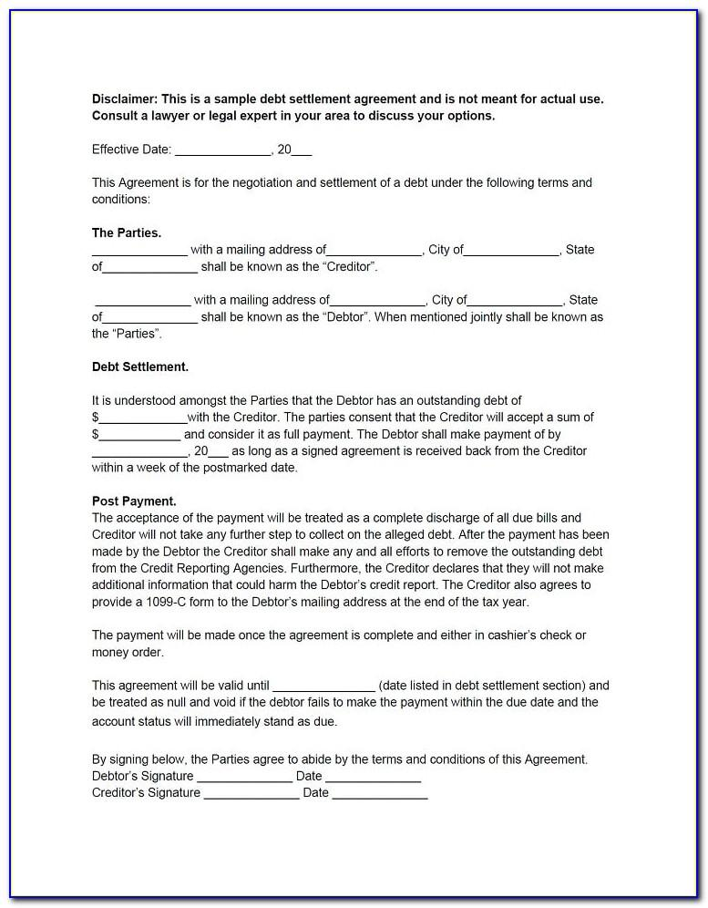 Debt Settlement Letter Template